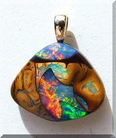 Opals-On-Black Koroit Boulder Inlay Gem Opal Pendant PB192 by Opals-On-Black.com, via Flickr