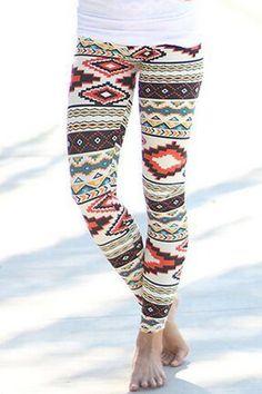 Vintage Colorful Geometric Printed High Waist Bodycon Leggings For Women Leggings | RoseGal.com