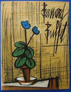 Bernard Buffet: Small Primrose blue, signed original lithograph