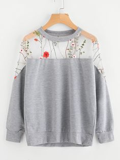 To find out about the Embroidery Mesh Paneled Marled Sweatshirt at SHEIN, part of our latest Sweatshirts ready to shop online today! Sweatshirt Outfit, Sweatshirt Jackets Diy, Kawaii Clothes, Diy Clothes, Fashion Clothes, Fashion Outfits, Clothes For Women, Belted Shirt Dress, Tee Dress