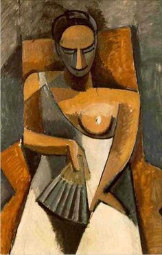 Pablo Picasso ~ Vrouw met waaier ~ 1907 ~ Olieverf op doek ~ 152 x 101 cm. ~ Hermitage, Sint Petersburg ~ © 2016 Estate of Pablo Picasso / Artists Rights Society (ARS), New York Kunst Picasso, Art Picasso, Picasso Paintings, Georges Braque, Henri Rousseau, Henri Matisse, Cubist Movement, Hermitage Museum, Hermitage Russia