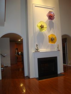 Contemporary Glass Art Abstract Corporate Art Glass Flowers Hand Blown  Glass Wall Art Sculptures
