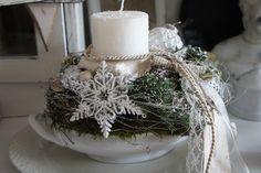 Eine zauberhaft schöne Adventsdeko.... In einer antiken Suppenschüssel hat sich eine sehr große Stumpenkerze Platz gemacht.... Allerlei Lieblichkeiten schmeicheln.... Durchmesser ca. 33...