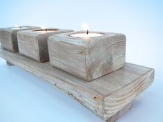 Shabby Chic - RuSTic - Wedding or Mantel Center Piece Candle Holder. This natural reclaimed wood candle holder is great for any occasion. Makes a great gift for you or someone you like. by BeachWoodKreations, $29.00