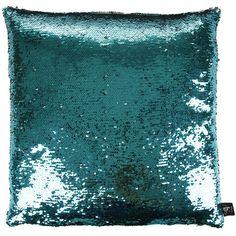 Aviva Stanoff Two Tone Mermaid Sequin Cushion 45x45cm - Aqua (4 390 ZAR) ❤ liked on Polyvore featuring home, home decor, throw pillows, blue, blue accent pillows, aqua home decor, handmade home decor, blue toss pillows en metallic throw pillows