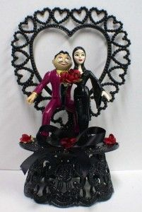 Gomez Morticia Addams Family Wedding Cake Topper Lot EC  EBay