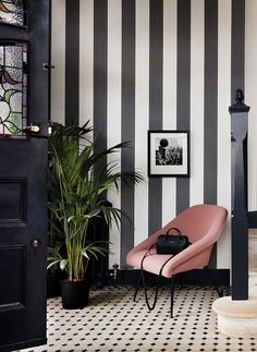 68 ideas striped wallpaper bedroom black and white Striped Wallpaper Hallway, Stripe Wallpaper, Bedroom Wallpaper, Striped Wallpaper Black And White, Striped Hallway, Wallpaper Ideas, Black White Pink, Black And White Hallway, Wallpaper Designs For Walls
