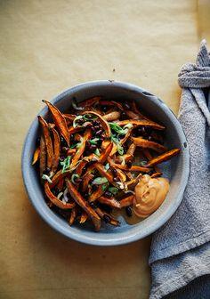Curry Garlic Sweet Potato Fries with Miso Gravy