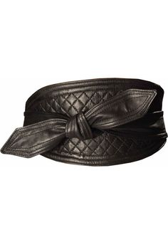 Black Leather Quilted Obi Belt by Lowie