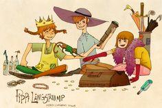 Astrid Lindgren Tribute illustrations by Emma Norström, via Behance