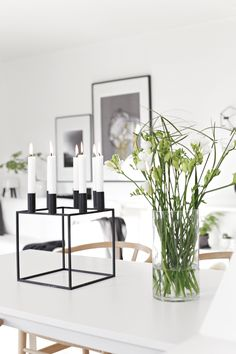 White surroundings and Kubus 8 candleholder at Nina Holst's home