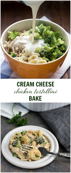 EASY Cream Cheese Chicken Tortellini Bake - all put in one casserole dish (even the unbaked tortellini) and baked