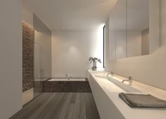 Soft atmosphere and pure lines, bathroom design by Filip Deslee _