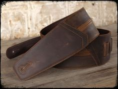 """""""Straight Up"""" Leather Guitar Strap - Black Whiskey Starts at $95"""