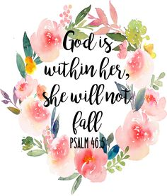 God Is Within Her, She Will Not Fall Psalm 46:5 - DIGITAL DOWNLOAD Christian Wall Art by EnjoyTheRideDesigns on Etsy