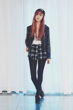 Amy Valentine - Stag Clothing Burgundy Beanie, Missguided Studded Jacket, Cheap Monday Embroidered Vest, Missguided Plaid Shorts, Underground Wulfrun Creepers - PLAID & PLEATHER | LOOKBOOK