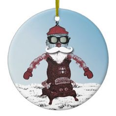 Steampunk Robot One Cool and Hip Santa Ceramic Ornament - click/tap to personalize and buy