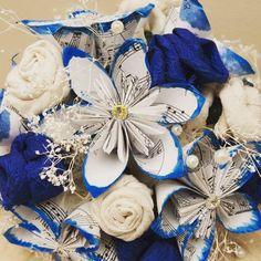 #Wedding#Bouquet #paper#flowers #fabric#flowers #creative#reuse #musicpaper #blue #handmade Jess Griffin 2015