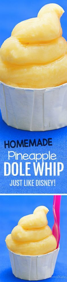 Pineapple Dole Whip - Easy recipe for Disney's popular classic frozen dessert --- Just 5 ingredients, and SO CREAMY!!! https://chocolatecoveredkatie.com/2013/06/05/dole-whip-recipe-bring-disney-to-your-kitchen/ @choccoveredkt #vegan #healthy #recipe #dessert