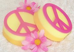 Girl Peace Sign Natural Soap ~ pink, orange & yellow, by crimsonhill