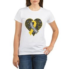 Hold On to Hope shirts, apparel and gifts to bring advocacy to Meniere's Disease  featuring a decorative heart and ribbon. Copyright Gifts4Awareness.com
