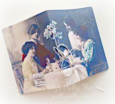 Handmade Vintage Journal Ladies At Tea by PattyAntlesPrettys