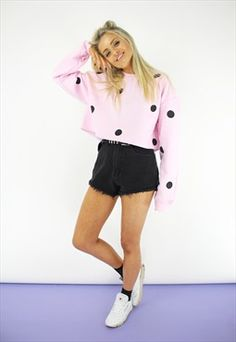 Baby pink spotty crop sweater