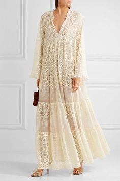 Stella McCartney - Erika Tiered Cotton-blend Lace Maxi Dress - Cream - IT44