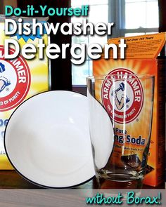 Dishwasher Detergent without Borax 1 1/2 Cups Lemi-Shine (They come in 12 oz containers, so this is a full one – alternatively, citric acid can be used) 1 1/2 Cups Washing Soda 1/2 Cup Baking Soda 1/2 Cup Sea Salt (any will do I'm sure)