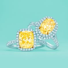 Tiffany Soleste® Cushion and Oval engagement rings with yellow diamonds. #TiffanyPinterest