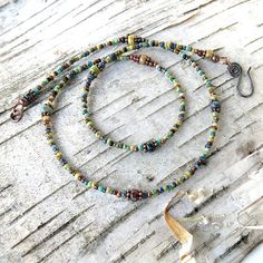 Multicolored beaded necklace  Picasso Czech glass & copper
