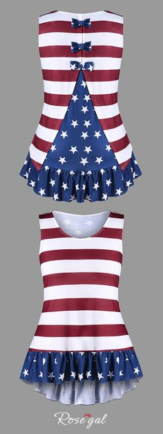 #PlusSize #AmericanFlag #TankTop with Bowknot - Xl #4ofJuly