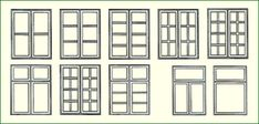 verschiedene Typen dänischer Sprossenfenster
