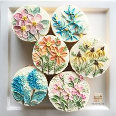 "Thinking about. "" Botanical Art inspiration "" Flower paint on cake Update Online class. I 'm keep working for prepare Lesson in Online class Working working! Cupcakes, Cupcake Cookies, Cake Decorating Tips, Cookie Decorating, Gateau Aux Oreos, Flower Cookies, Buttercream Flowers, Painted Cakes, Iced Cookies"