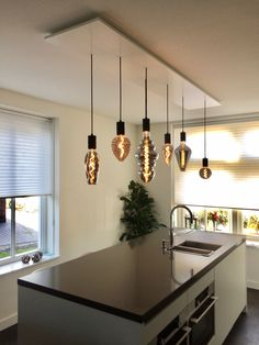Kitchen Ceiling Design, Kitchen Lamps, Kitchen Room Design, Kitchen Lighting, Rustic Lighting, Cool Lighting, Ceiling Lamp Shades, Led Lampe, Home And Living
