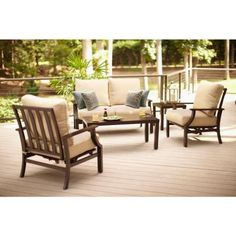 Hampton Bay Millstone 4-Piece Patio Deep Seating Set with Beige Cushions-FCA65097RST at The Home Depot