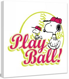 """Peanuts """"Play Ball"""" Graphic Art on Canvas"""