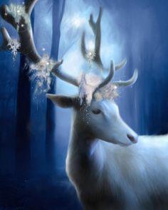 The Greenman, Cernunnos/Herne the Hunter ...White Stag or White Hart Spirit Guide Power Animal by Artist  kjbartworks...