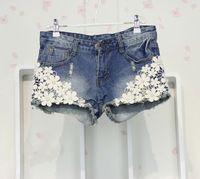 2014 новая коллекция весна женская одежда комплект девушка тонкий кружево с жемчугом отверстия джинсовые шорты джинсы женщина бесплатная доставка