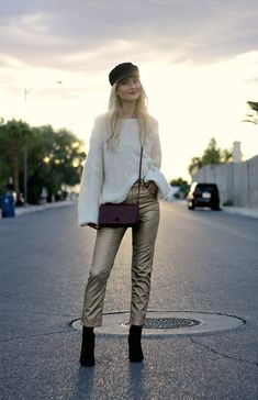 Casual Outfit from thenomisniche with Topshop Hats, Free People Shirts, Burberry Wallets, TopShop Jeans, Steve Madden Boots Metallic Jeans, Gold Jeans, Winter Fashion Casual, Fashion Fall, Winter Style, Hipster Dress, Edgy Outfits, Fashionable Outfits, Outfit