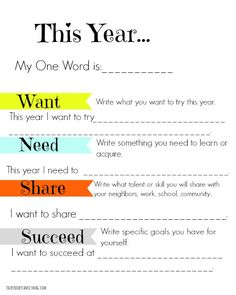 Family Activity: Simple New Year's Goals FREE Printable