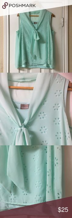 """Chico's Mint Green Laser Cut Top W/Cami. Bow Tie Gorgeous! Chico's Mint Green Laser Cut Top W/Cami. Bow Tie Front. Great condition! Chiffon nylon/spandex blend. Cami has 2"""" straps and is stretchy. Would look stunning dressed up or down. Bust 41"""", length 23""""-25"""". Spring, summer, sea foam green, pastel. This is a Chico's size 3 which is equal to a size 16 chicos Tops Blouses"""