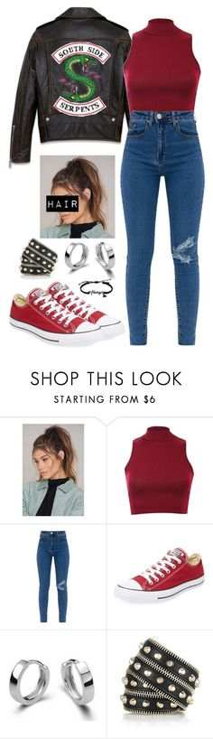 """""""[ Southside Serpent ]"""" by demiwitch-of-mischief ❤ liked on Polyvore featuring NA-KD, Pilot, Converse and Versace #dressescasual"""