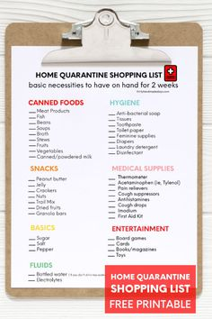 Be prepared in case of a home quarantine with this printable shopping list! Guidlines for emergencies, ideas for how to pass time and more.