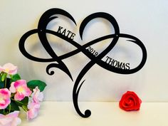 Personalized Infinity Symbol Custom Heart Names Est Year Metal Wedding Date Wall Hanging Decor Love Established Sign Door Hanger Gift Couple - Tatoo Name Tattoos, Wrist Tattoos, Body Art Tattoos, Tribal Tattoos, Star Tattoos, Moon Tattoos, Celtic Tattoos, Family Gifts, Couple Gifts