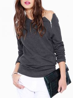 Buy Deep Gray Off Shoulder Zipper Loose T-shirt from abaday.com, FREE shipping Worldwide - Fashion Clothing, Latest Street Fashion At Abaday.com