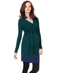 Evergreen & Navy Maternity Wrap Dress   Seraphine