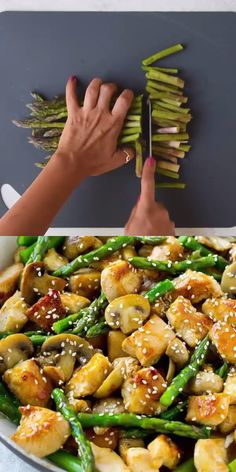 his Easy Chicken Asparagus Stir Fry recipe is the perfect stir fry recipe. Loaded with protein, asparagus, and mushrooms. Then tossed in a lightly sweet sauce made with honey, soy sauce, and sesame oi Asparagus Stir Fry, Asparagus And Mushrooms, Chicken Asparagus, Asparagus Recipe, Lemon Asparagus, Baked Asparagus, Recipes With Asparagus, Asparagus Meals, Chicken Zucchini