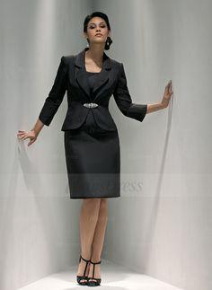 Sheath/Column V-neck Knee-Length Satin Zipper Up Strapless Sleeveless Yes Black Summer Fall General Mother of the Bride Dress