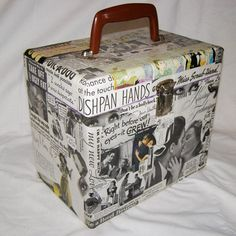 1940s Magazine Ads Decoupaged on Wooden Box with by EcoCycled, $35.00